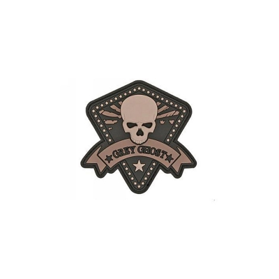 GREY GHOST | Mini PVC Morale Patch | Black