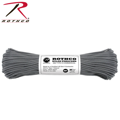 Rothco Nylon Paracord Type III 550 LB 100FT | Charcoal