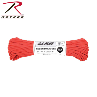 Rothco Nylon Paracord Type III 550 LB 100FT | Röd