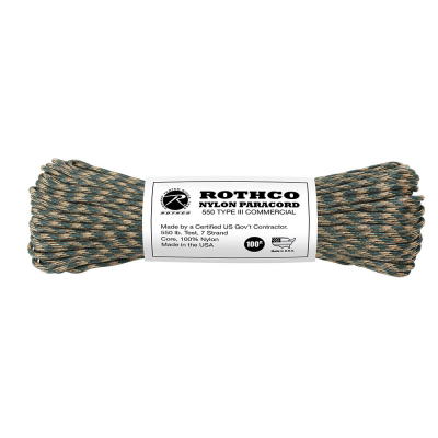 Rothco Nylon Paracord Type III 550 LB 100FT | Woodland