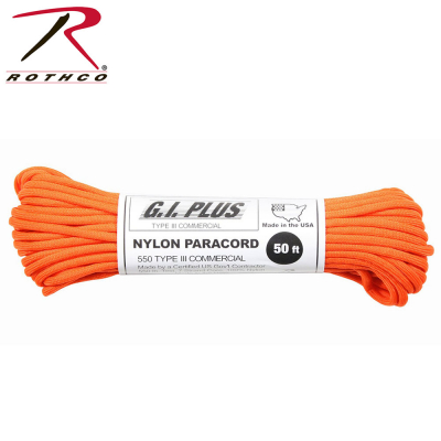 Rothco Nylon Paracord Type III 550 LB 100FT | Safety Orange